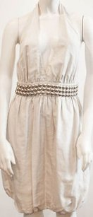 Stella McCartney Cream Tan Cotton Silk Halter Bubble Hs1664 Dress