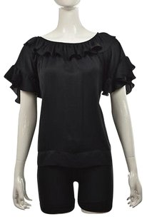 Stella McCartney Womens Short Sleeve Ruffled Shirt Top Black