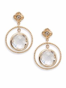 Stephen Dweck STEPHEN DWECK Clear Quartz & Bronze Hoop Drop Earrings