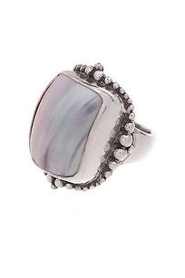 Stephen Dweck Stephen Dweck Sterling Silver Black Mother Of Pearl Ring Size 5.5