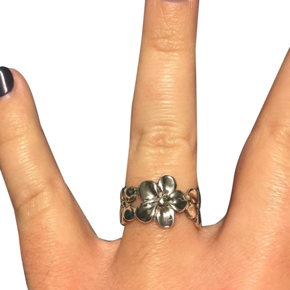 Sterling Silver Hibiscus Ring