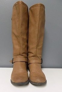 Steve Madden Edgy Knee High Man Made B3452 Light Brown Red And Gold Boots