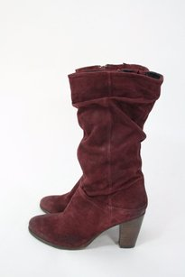 Steve Madden Red Loretta Suede Ruched Calf wine Boots