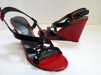 Stuart Weitzman Red Patent Leather Wedge Heels Black Platforms