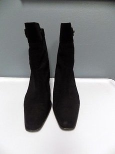 Stuart Weitzman Square Toe Suede And Polyester Zipper B3323 Black Boots