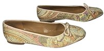 Stuart Weitzman Paisley Pattern Silk Leather Lined B3399 Multi-Color Flats