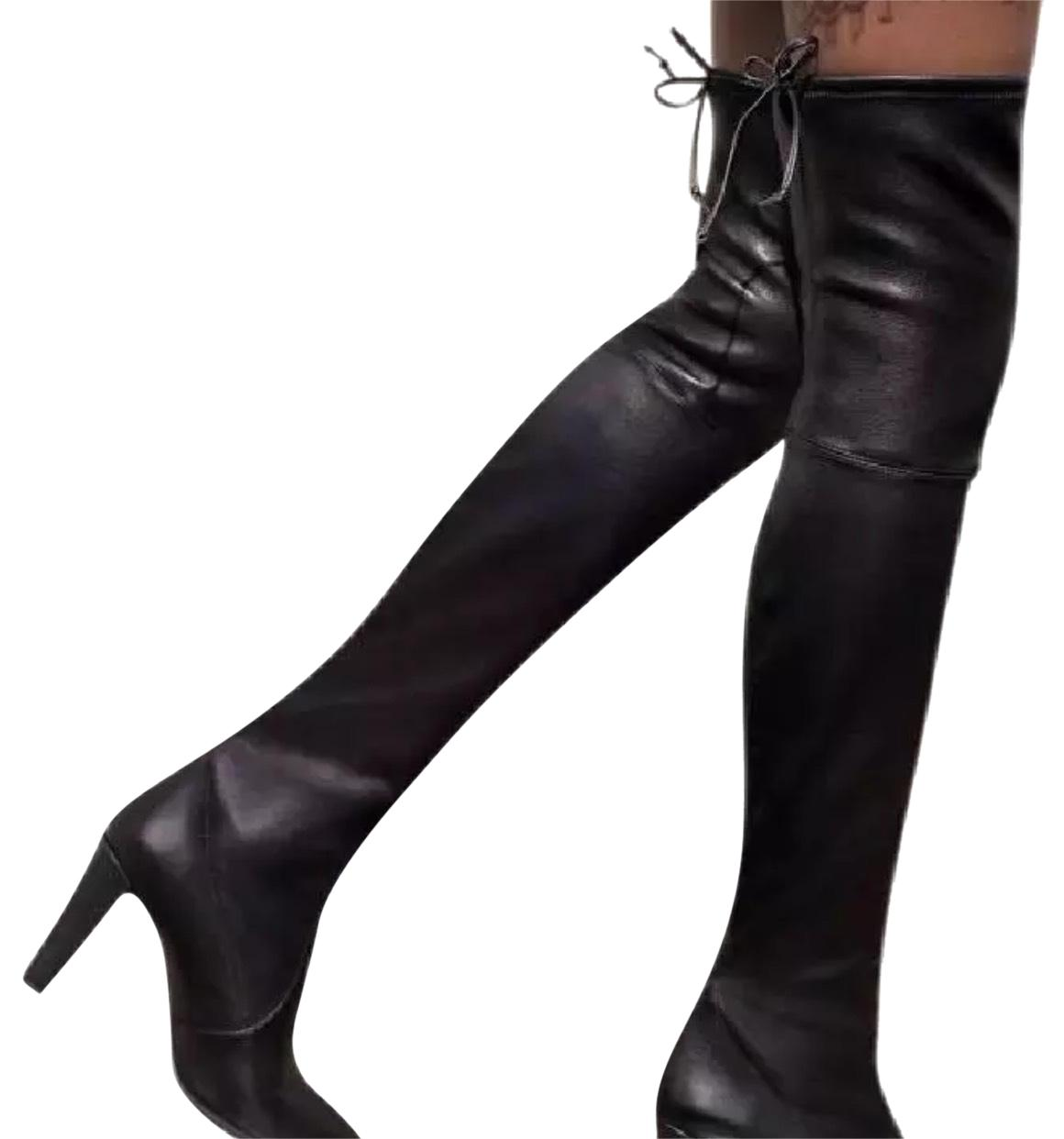 Stuart Weitzman Black Highland Over-the -knee Leather Boots/Booties Size US 7 Regular (M, B)