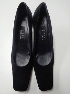 Stuart Weitzman Squared Toe W Slim Heels Aaaa Leather B3206 Black Pumps