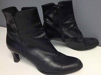 Stuart Weitzman Leather Side Zipper Inch Heel Ankle B2732 Black Boots