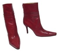 Stuart Weitzman Leather Ankle Pleats Red Short Boots
