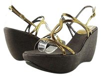 Stuart Weitzman Thrill Bronze Womens Designer Strappy Wedges Sandals Metallics Platforms