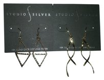 studio silver w/BONUS-2 Pairs of Earrings Twist Drop & Inverted Drop