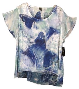 Style & Co Twin Set Butterflies Sheer 1x Top Blue