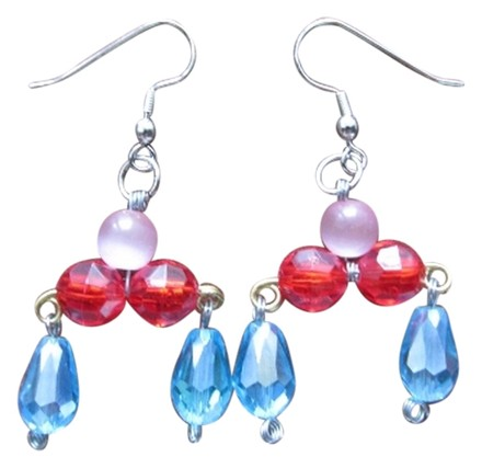SummerMatcha Kiki - Faceted Blue Oval Glass Beads, Bright Red Glass Beads, and Round Pink Rose Quartz Drop Earrings