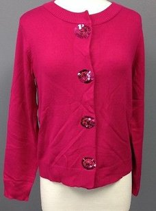 Susan Graver Rayon Long Sleeve Sequin Snap Up Cardigan Sma 11412 Sweater