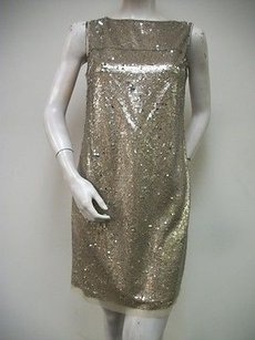 Suzi Chin Sparkly Taupe Sequin Sq731m Sleeveless Sheath Dress
