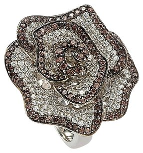 Suzy Levian SUZY LEVIAN 925 St Silver Chocolate & White CZ FLOWER RING