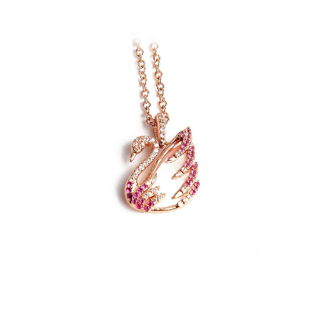Swarovski Pink New Swan Crystals Rose Gold Mother Of Pearl Necklace