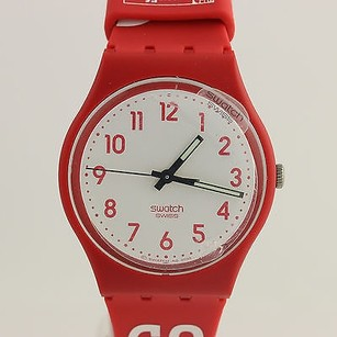 Swatch Swatch Watch Wristwatch - Unisex Red Rubber Band Anniversary Swiss Runs