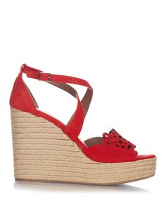 Tabitha Simmons Open Toe Ankle Strap Espadrille Suede Wedge Red Sandals