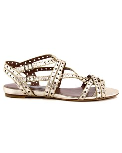 Tabitha Simmons Felicity Metallic Leather Perforated Flat Gold Sandals