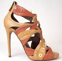 Tabitha Simmons Strappy Cage Zip Up Sandals Heels Tan / Red Pumps