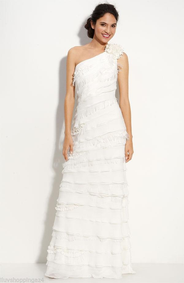 Tadashi Shoji Ivory Layered Chiffon One Shoulder Chiffon Modern Wedding  Dress Size 4 (S) ...