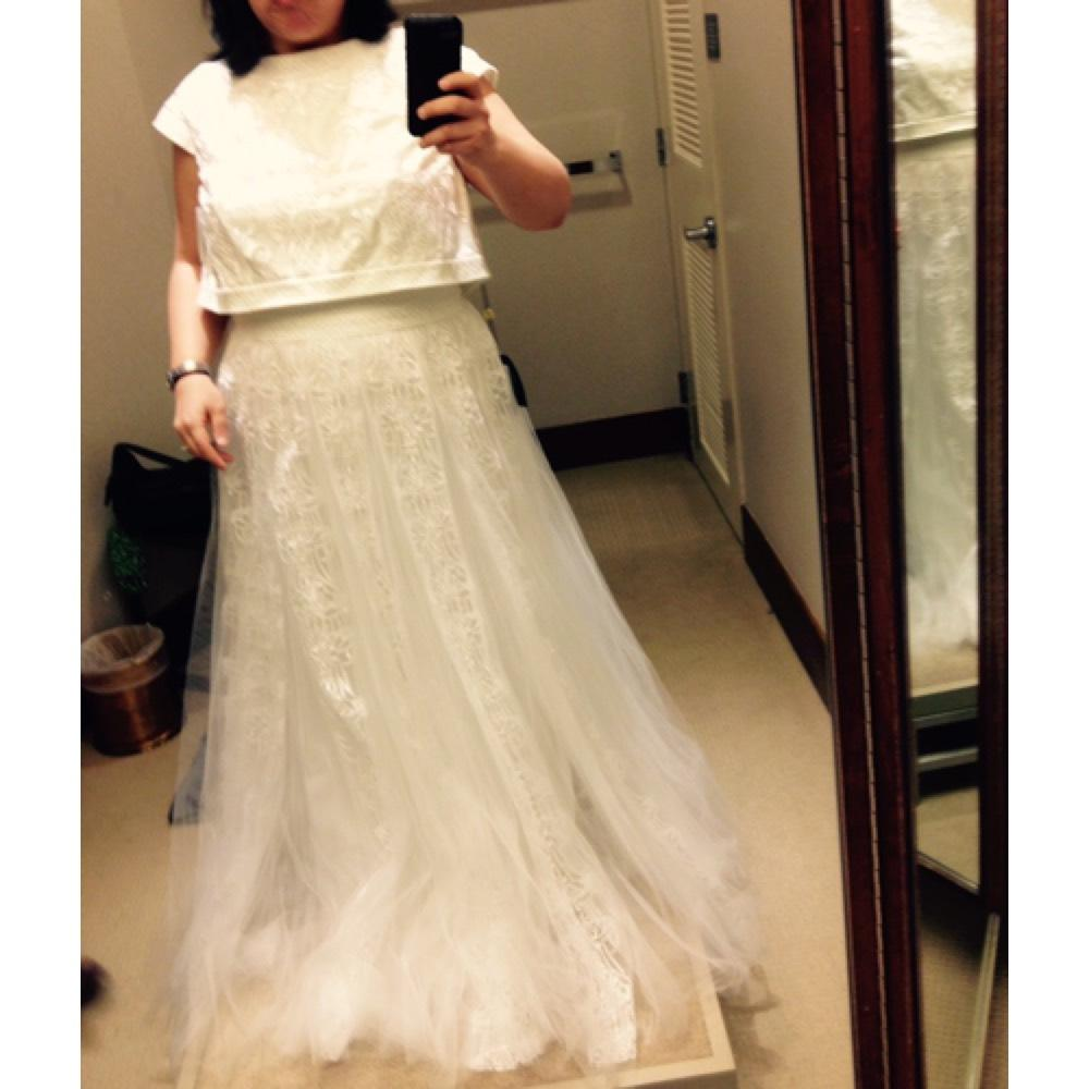 Tadashi Shoji Ivory Tulle/Polyester Cropped Illusion Modern Wedding Dress  Size 14 (L) ...