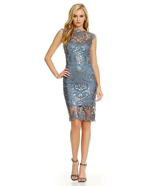 Tadashi shoji lace dress embroidered with pearls