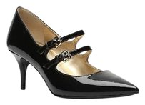 Tahari Patent Leather Pointed Toe Mary Jane Strappy BLACK PATENT Pumps