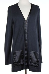 Tahari Womens Solid Cardigan Full Zip 100 Cotton Long Sleeve Sweater