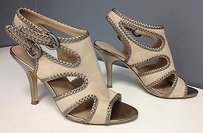 Tahari Gold Braid Accent Leather Edge Gladiator B2948 Beige Sandals