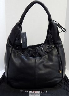 Tahari Lively Leather Patent Rt Hobo Bag