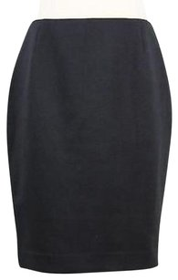 Tahari Womens Solid Polyester Blend Straight Skirt Black