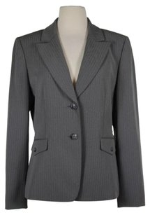 Tahari Tahari Arthur Levine Womens Gray White Striped Blazer Long Sleeve