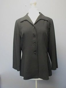 Tahari Tahari Black Long Sleeves Solid Button Front Lined Blazer Jacket Sma4634