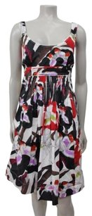 Tahari short dress Multi-Color Floral Sleeveless Scoop Neck Tea White Red on Tradesy