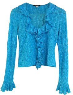 TAIGA Lace Stretch Ruffle Top Turquoise