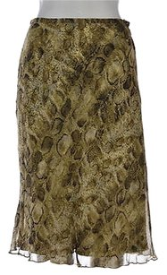 Talbots Petite Womens Green A Skirt Multi-Color