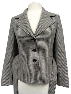 Talbots Petites Striped Button Up W Belt Wool Sma10325 Beige And Gray Jacket