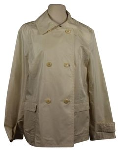 Talbots Womens Ivory Basic Cotton Silk Coat Creme Jacket
