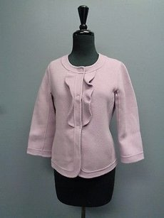 Talbots Petites Button Up W Ruffles 2p Woold Blend Sma6387 Lavender Jacket