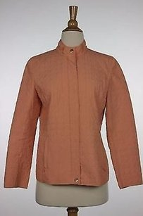 Talbots Womens Solid 100 Polyester Basic Coat Orange Jacket