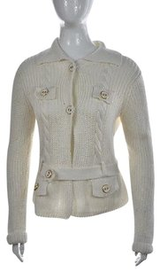 Talbots Collection Womens Ivory Cardigan Knit Belted Sweater
