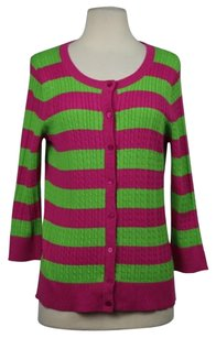Talbots Petites Womens Striped Cardigan Cotton 34 Sleeve Shirt Sweater
