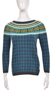 Talbots Womens Blue Crewneck Printed Knit Sweater