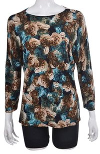 Talbots Womens Blue Crewneck Floral Wool Casual Shirt Blouse Sweater