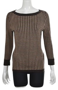 Talbots Womens Brown Crewneck Houndstooth Wool Shirt Sweater