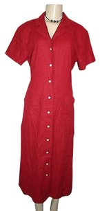 Talbots short dress Red Short Sleeve Button Front Long Linen Blend Shirt on Tradesy
