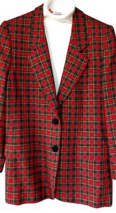 Talbots Splendid 100% Wool Like New Red, Black with touch of green,gold check Jacket
